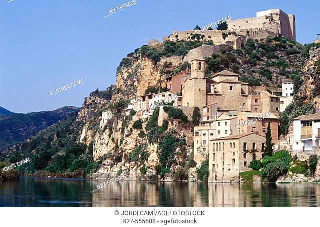 Templar castle and Ebro river. Miravet, Tarragona province. Catalunya. Spain