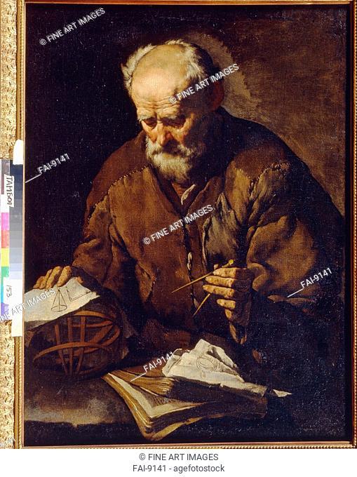 Archimedes. Italian master . Oil on canvas. Baroque. Mid of 17th cen. . Regional Art Gallery, Tambov. 99x73. Painting