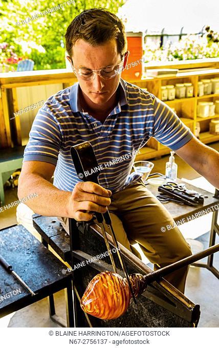 Glassblowing, Garden City Glass at Jewell Gardens, Skagway, Alaska USA