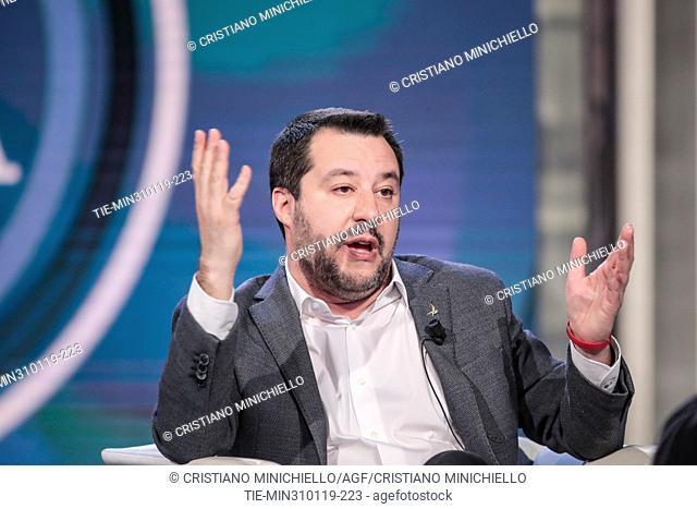 Italian Minister of Interior and Deputy Prime Minister Matteo Salvini during the tv show Porta a porta, Rome, ITALY-31-01-2019