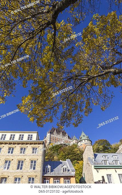 Canada, Quebec, Quebec City, Chateau Frontenac Hotel and buildings along Boulevard Champlain, morning