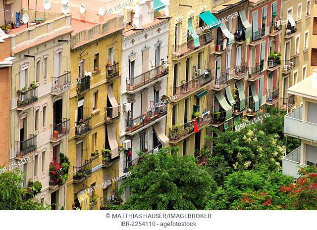 Row of houses in Barcelona, Catalonia, Spain, Europe