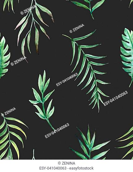 Beautiful vector seamless pattern with hand drawn watercolor tropical palm leaves