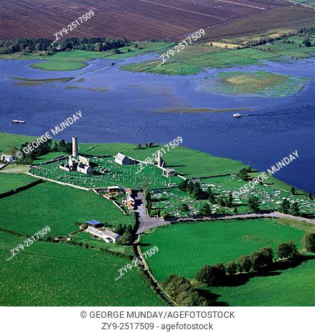 Clonmacnoise Monastic Site and the River Shannon,. Co Offaly, Ireland
