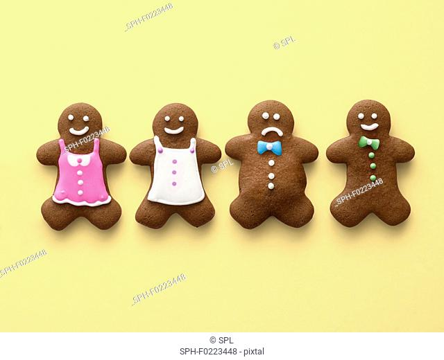 Four gingerbread men and women