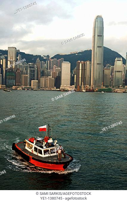 Skyline across the harbor from Kowloon in the morning, Hong Kong, China