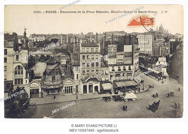 Le Moulin Rouge on the eve of World War One, dominating la Place Blanche ; the church of Sacre Coeur can be seen on the horizon