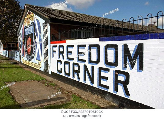 loyalist murals in Lower Newtownards Road area of protestant East Belfast Northern Ireland. This area of the Newtownards road is named Freedom Corner to...