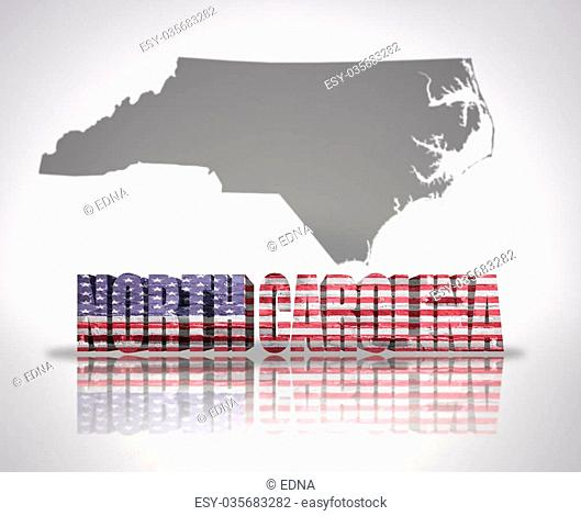 Word North Carolina with National Flag of USA near map State
