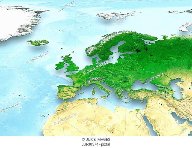 map, Western Europe, physical, political