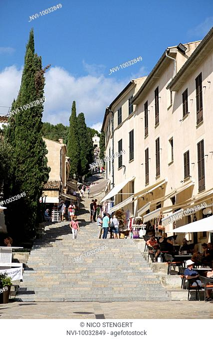 The staircase Carrer del Calvari leads in 365 steps to the Calvary, Pollença, Mallorca, Spain
