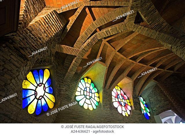 Church of the Colonia Güell by Gaudi, Santa Coloma de Cervello. Barcelona province, Catalonia, Spain (Feb. 2007)