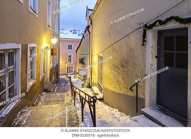 Winter dawn in Tallinn old town, Estonia