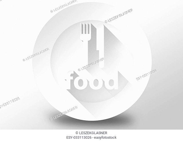 Food concept with plate knife and fork, 3d illustration flat design