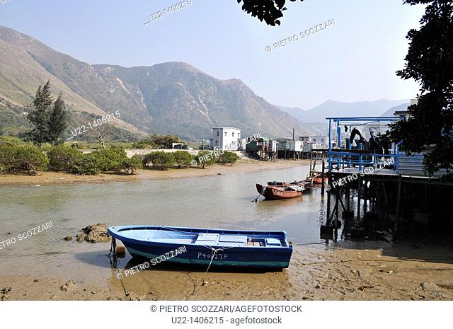Hong Kong: canal and boats at Tai O village, on Lantau Island