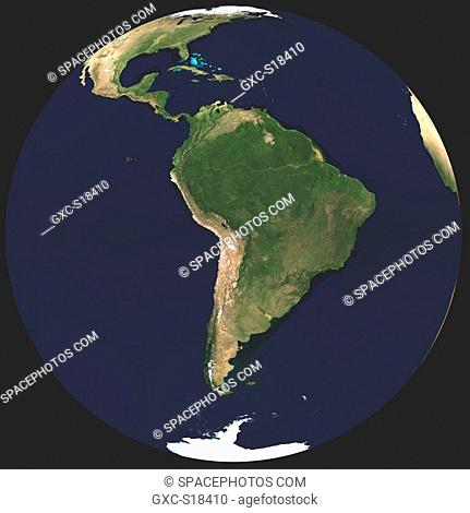 Earth in Space, one can see the Atlantic Ocean, North America et du sud, the Pacific Ocean, Antarctica
