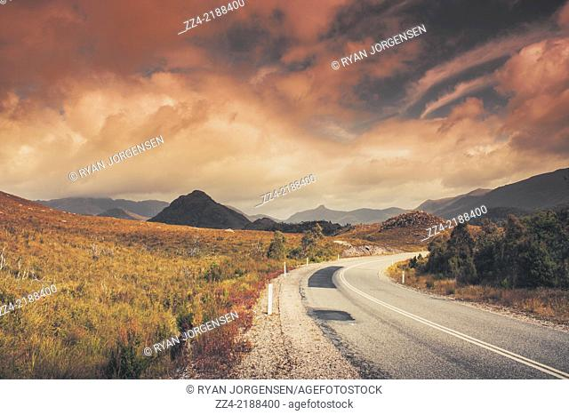Ambient autumn sunset picture of Lake Plimsoll road in Tasmania, Australia leading through Tullah to the shores of Lake Rosebery