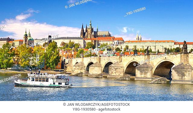 Prague Old Town - view at Vltava River, Charles Bridge and the Royal Castle, Prague, Czech Republic, Europe