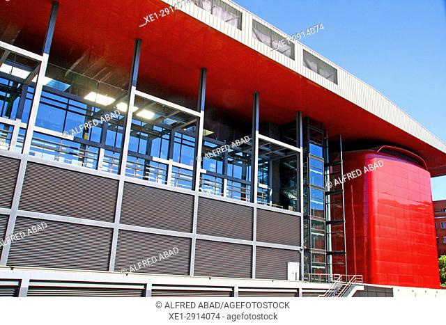 Detail of the building of the Reina Sofia art center, Madrid, Spain