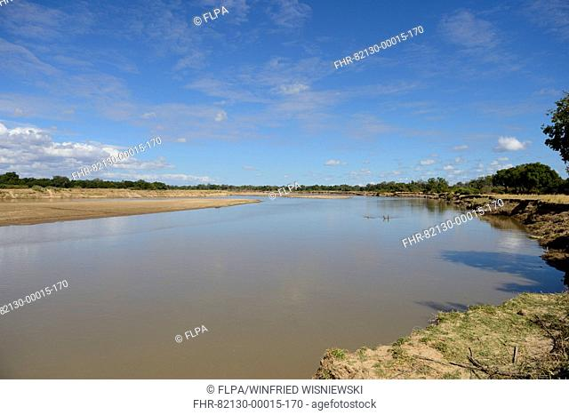View of river habitat, River Luangwa, South Luangwa N.P., Zambia, June