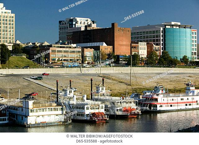 Riverboats view from Mud Island, Nashville. Tennessee. USA