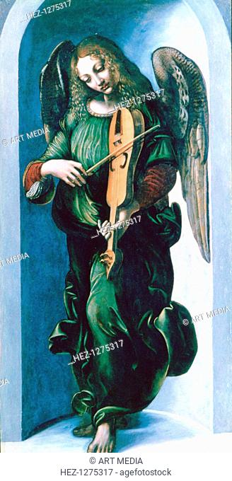 'An Angel in Green with a Vielle', c1500. This painting, together with 'An Angel in Red with a Lute' came from the same altarpiece as 'The Virgin of the Rocks'