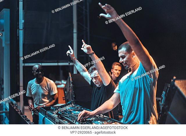 Dj hardwell b2b afrojack with mc ambush at music festival starbeach dj hardwell b2b afrojack at music festival starbeach beachflirt dress in white party on 17 july 2017 in hersonissos crete greece they played sp altavistaventures Image collections