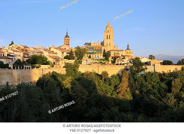 The skyline of Segovia with his cathedral