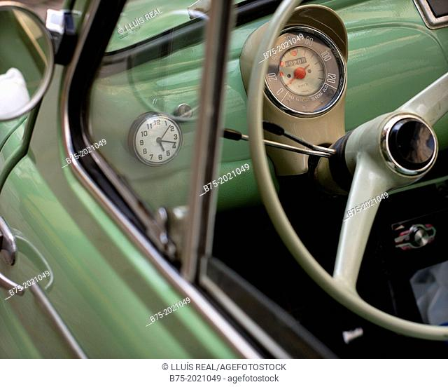 Detail of the interior of a car Seat 600, vintage, 60s parked on a street in Paris