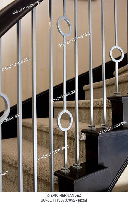 Close-up of metalwork railing; Valencia; California; USA