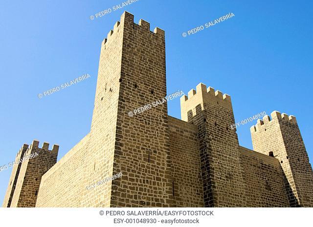 Castle in Sadaba with blue sky, Saragossa, Spain