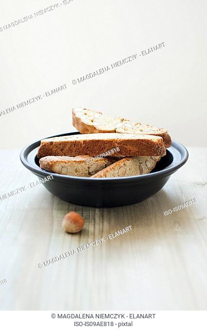 Hazelnut biscotti in a bowl