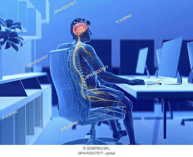 Illustration of an office worker's brain and nerves