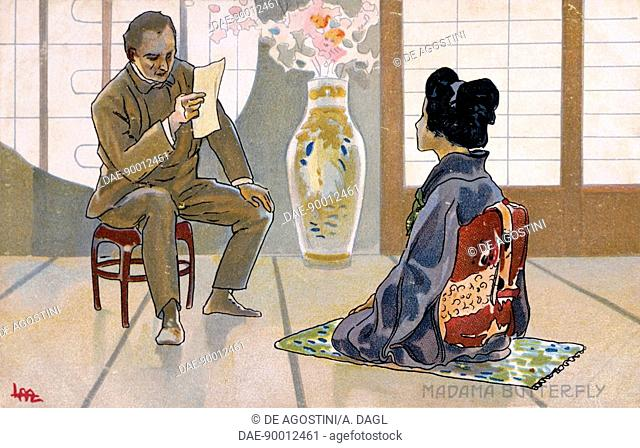 Postcard by Leopoldo Metlicovitz (1868-1944) created on the occasion of the premiere of the opera Madame Butterfly, by Giacomo Puccini (1858-1924)