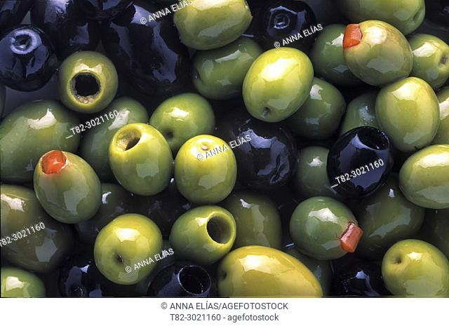 close-up varied table olives, Andalusia, Spain Europe