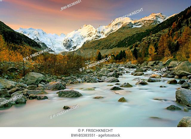 Piz Palue, 3905 m, Piz Bernina, 4049 m, Piz Morteratsch, 3751 m at sunrise, Switzerland, Grisons, Oberengadin
