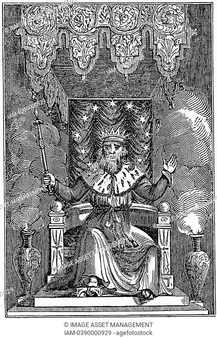 Thor son of Woden or Odin, the second god in the ancient Scandinavian pantheon  Woodcut, London, 1834