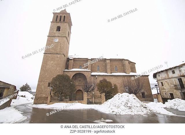 Corbalan village in Teruel Aragon Spain. St Peters church