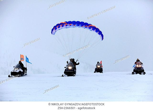 Athletes ekstremaly on a tour of the Ural Mountains. Russia