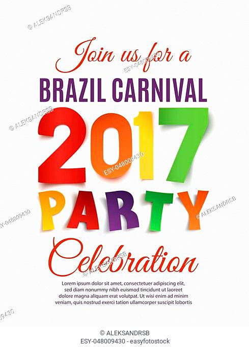 Brazil Carnival 2017 party poster template isolated on white background. Vector illustration