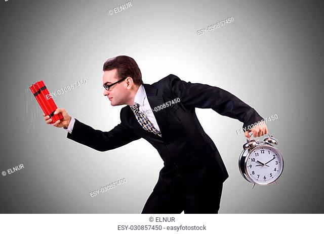 Man with time bomb against the gradient