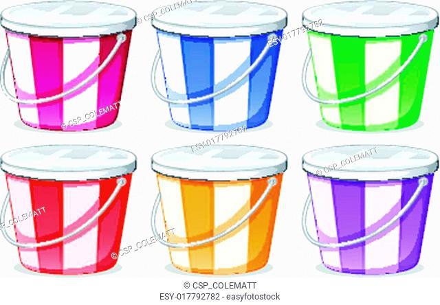 Six colorful pails