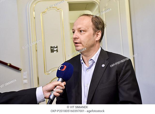 Senator Vaclav Laska speaks to journalists as comes to the meeting of Senate foreign affairs, defence and security committee to deal with report of secret...