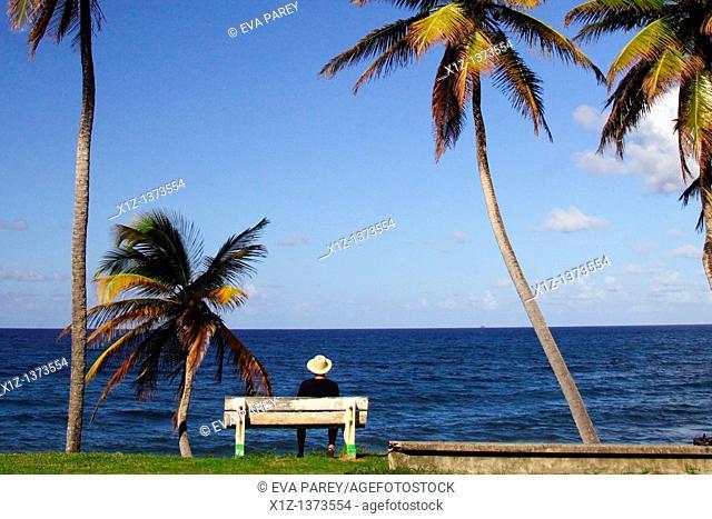 The promenade seafront in Trinite, a village in the caribean island of Martinique