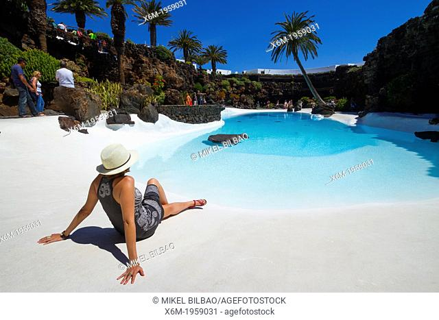 Girl and a pool. Los Jameos del Agua