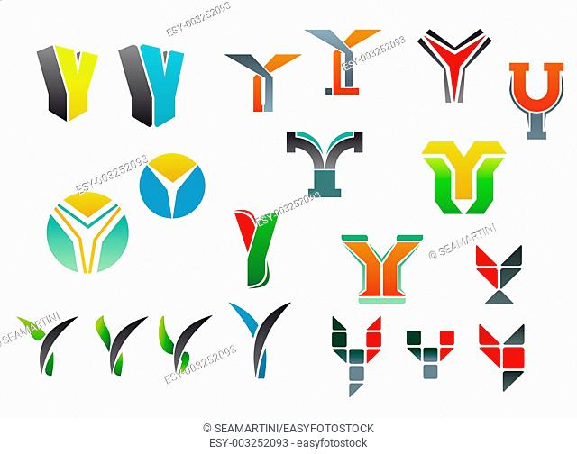 Set of alphabet symbols and elements of letter Y