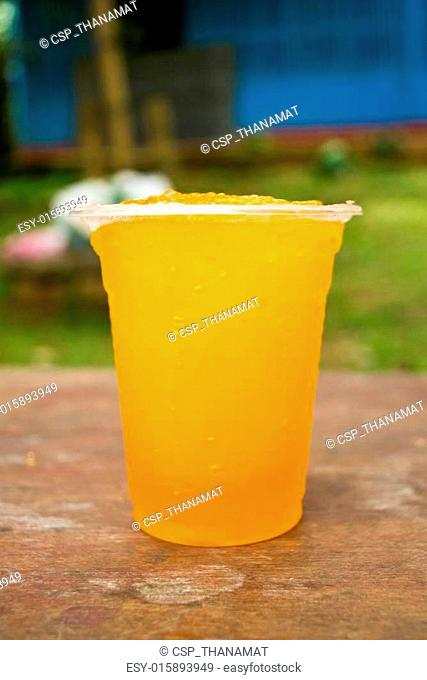 Soft drinks in plastic cups
