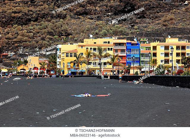 La Palma, Canary Island, Tazacorte, black sand beach and colorful houses in Puerto de Tazacorte