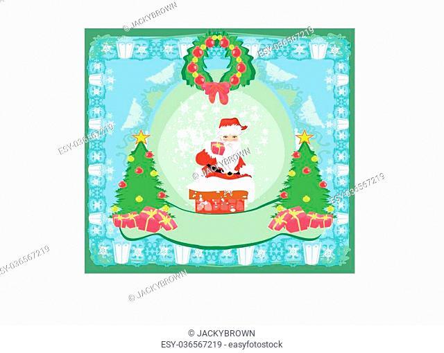 Christmas greeting card - funny Santa Claus