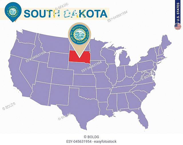 South Dakota State on USA Map. South Dakota flag and map. US States